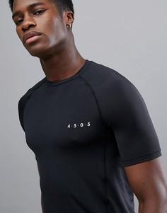 Темно-серая обтягивающая футболка из быстросохнущей ткани ASOS 4505 - Серый