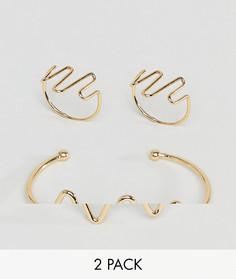Набор из браслета и колец с отделкой в виде сердечной диаграммы ASOS DESIGN - Золотой