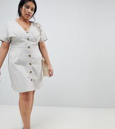 Короткое приталенное платье в стиле casual на пуговицах ASOS CURVE - Серый
