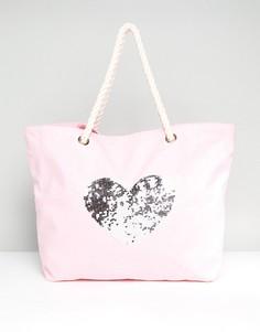 Хлопковая пляжная сумка с сердцем из пайеток South Beach - Розовый