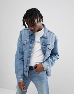 Джинсовая куртка с рваной отделкой Calvin Klein Jeans - Синий
