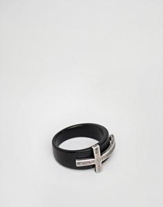 Черное кольцо с серебристым крестиком Seven London - Черный