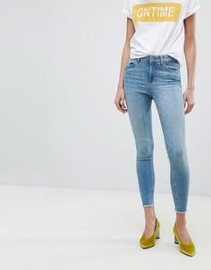 Укороченные джинсы скинни с классической талией Pieces - Синий