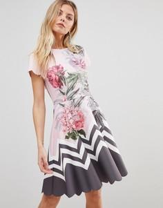 Короткое приталенное платье с принтом Ted Baker Haiilie - Мульти