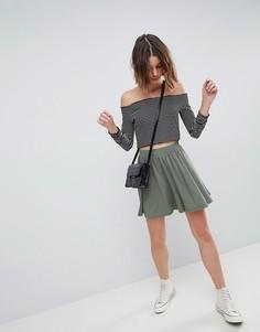 Короткая расклешенная юбка хаки ASOS DESIGN - Зеленый