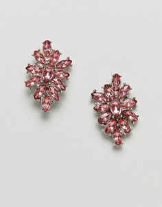 Крупные серьги в камнями ASOS DESIGN - Розовый