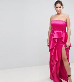 Платье-бандо макси с оборкой TTYA BLACK Plus - Розовый Taller Than Your Average