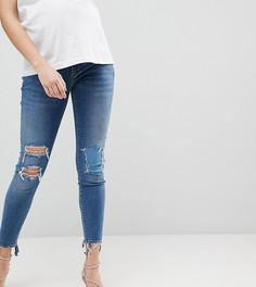 Рваные джинсы скинни с завышенной талией и посадкой под животом ASOS MATERNITY RIDLEY - Синий
