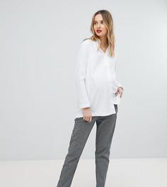 Эластичные брюки прямого кроя в полоску Isabella Oliver - Синий
