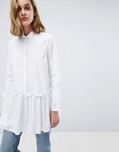 Oversize-рубашка с баской Moss Copenhagen - Белый