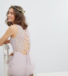 Платье макси со шнуровкой на спине TFNC Tall Bridesmaid - Коричневый