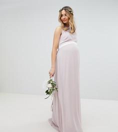 Платье макси с бантом сзади TFNC Maternity - Коричневый