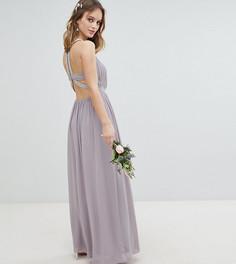 Платье макси с декоративной отделкой TFNC Petite - Серый