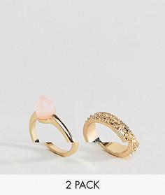 2 кольца с кристаллом и гравировкой ASOS DESIGN - Золотой