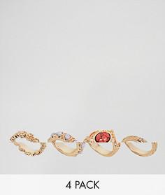 4 кольца различных дизайнов ASOS DESIGN - Золотой