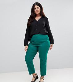 Льняные брюки-сигареты ASOS CURVE - Зеленый