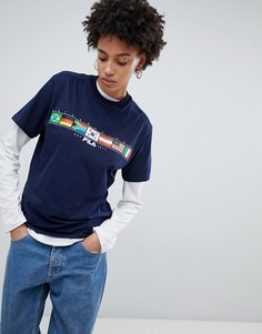 Oversize-футболка с принтом флага Fila - Темно-синий