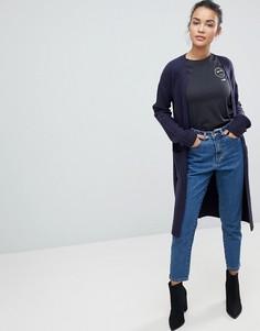 Удлиненный кардиган с рукавами в рубчик Fashion Union - Темно-синий