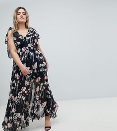 Платье макси с цветочным принтом Religion Plus - Черный