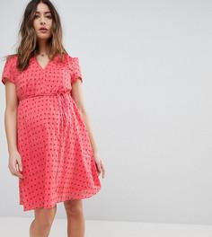 Чайное платье мини с цветочным принтом и поясом Glamorous Bloom - Розовый