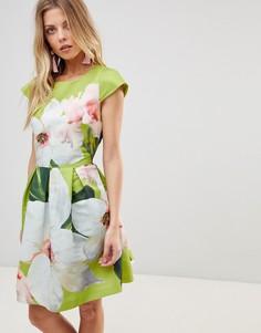 Короткое приталенное платье Ted Baker - Мульти