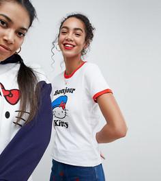 Футболка с принтом с надписью Bonjour Hello Kitty x ASOS - Белый
