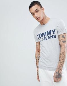 Серая меланжевая футболка с логотипом Tommy Jeans - Серый