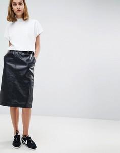 Кожаная юбка миди Moss Copenhagen - Черный
