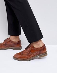 Светло-коричневые кожаные броги Base London Turner - Рыжий