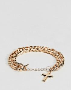 Золотистый браслет-цепочка с подвеской-крестиком ASOS - Золотой