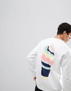 Белый свитшот с принтом на спине adidas Originals HZA Valley DN9088 - Белый