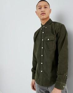 Оливковая вельветовая рубашка классического кроя на пуговицах Abercrombie & Fitch - Зеленый