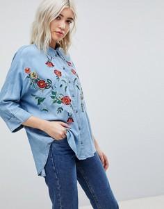 Джинсовая рубашка с вышивкой Only - Синий