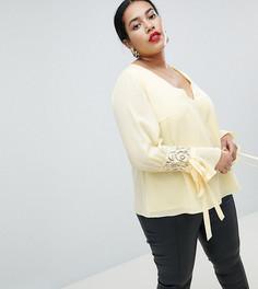 Блузка с драпировкой на рукавах Lovedrobe - Желтый