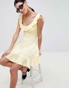 Короткое приталенное платье с оборками ASOS - Желтый