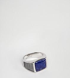 Серебряное кольцо-печатка с синим камнем Seven London - Серебряный