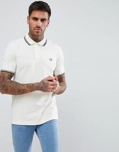 Бежевая футболка-поло с контрастным воротником Fred Perry - Белый