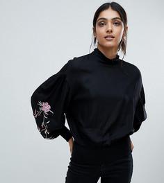 Топ с высоким воротом и вышивкой на рукавах Vero Moda Tall - Черный