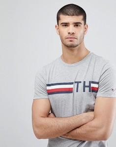 Серая меланжевая футболка с логотипом и полосами Tommy Hilfiger - Серый