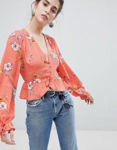 Чайная блузка в горошек с цветочным принтом и завязками на рукавах Neon Rose - Красный