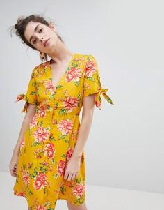 Чайное платье с завязками на рукавах Neon Rose - Желтый
