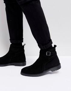 Черные кожаные ботинки челси с ремешком ASOS - Черный