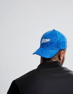 Синяя бейсболка из искусственной замши с надписью Nope ASOS - Синий