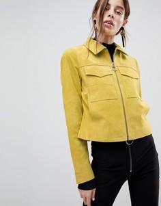 Замшевая куртка с карманами ASOS - Желтый