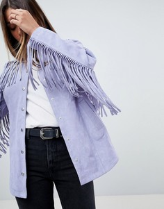 Замшевая куртка с бахромой ASOS - Серый