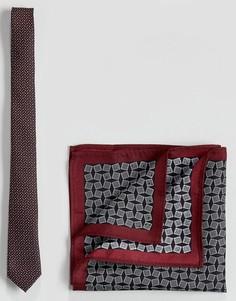 Галстук и платок для нагрудного кармана с геометрическим принтом ASOS - Мульти