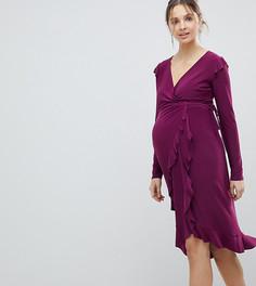 Платье с запахом и оборками ASOS MATERNITY - Фиолетовый