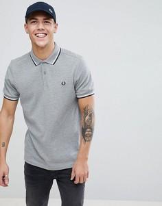 Серая меланжевая футболка-поло с контрастной отделкой Fred Perry - Серый