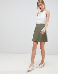 Строгая мини юбка-трапеция ASOS DESIGN - Зеленый