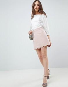 Строгая мини юбка-трапеция с фактурной отделкой по краю ASOS DESIGN - Розовый